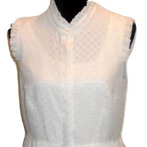 Karl Lagerfeld White Button Down Chiffon Dress, 8